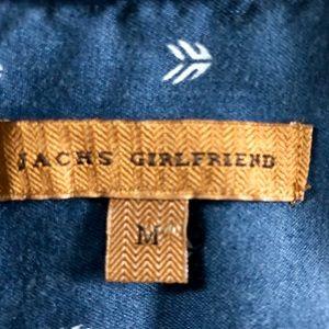 JACHS Girlfriend Tops - Jachs Girlfriend Oversized Slouchy Denim Arrow Top